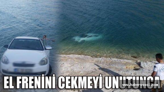 El freni çekilmeyen otomobil, baraj gölüne düştü