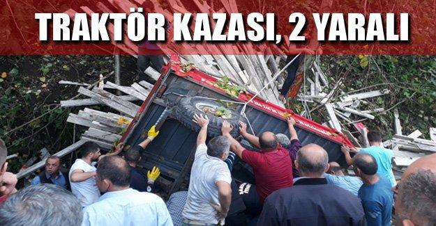 Samsun'da traktör kazası, 2 yaralı