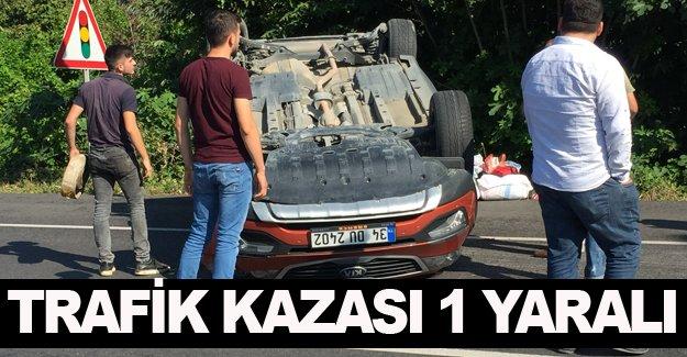 Samsun'da araç takla attı 1 yaralı