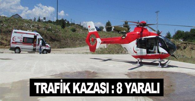 Samsun'da otomobil şarampole devrildi: 8 yaralı