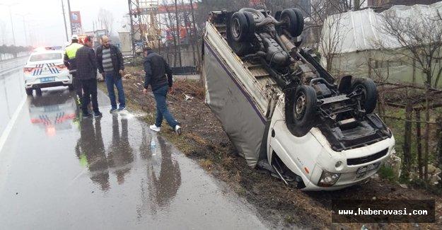 Samsun'da Devrilen aracın sürücüsü yaralandı