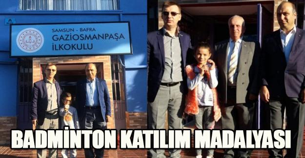 GAZİOSMANPAŞA İLKOKULU' NA 2 BADMİNTON KATILIM MADALYASI