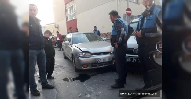 Bafra'da maddi hasarlı kaza