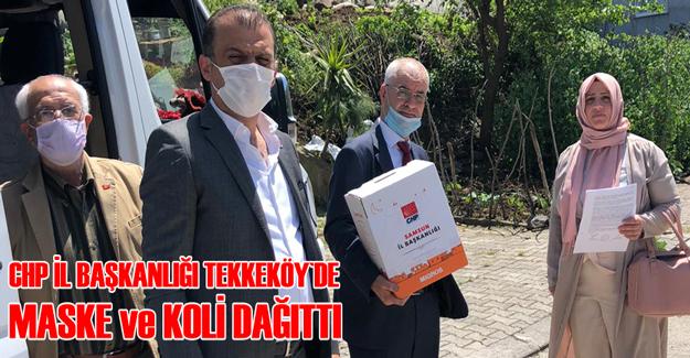 CHP Tekkeköy`de Maske ve Ramazan Kolisi Dağıttı
