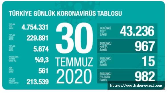 Türkiye'de son koronavirüs tablosu