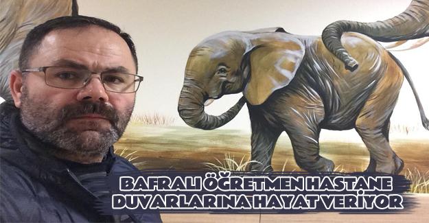 Bafralı Öğretmen Hastane Duvarlarına Hayat Veriyor