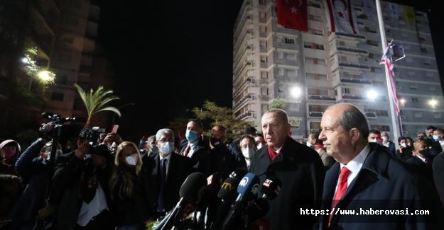 Erdoğan, KKTC'de Kapalı Maraş'ta
