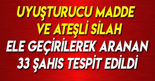 Samsun'da Aranan 33 Şahıs Tespit Edilmiştir