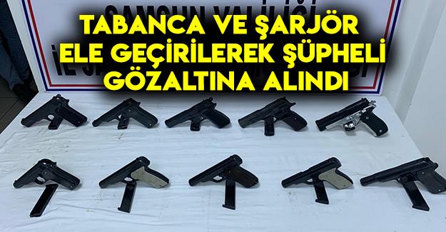 Samsun'da tabanca ve şarjör ele geçirildi