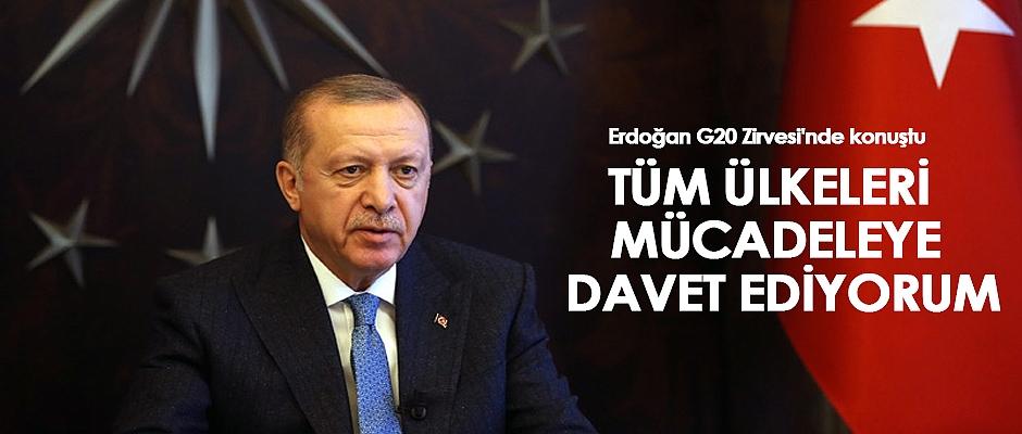 Erdoğan,G20 Liderler Olağanüstü Zirvesi'nde konuştu