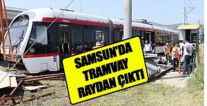 Samsun'da tramvay  raydan çıktı