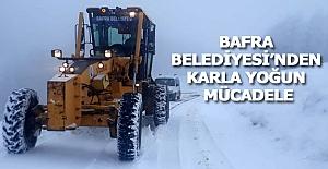 Bafra Belediyesi'nden Karla Yoğun Mücadele