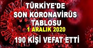 Türkiye Güncel Korona Virüs Tablosu 1aralık 2020